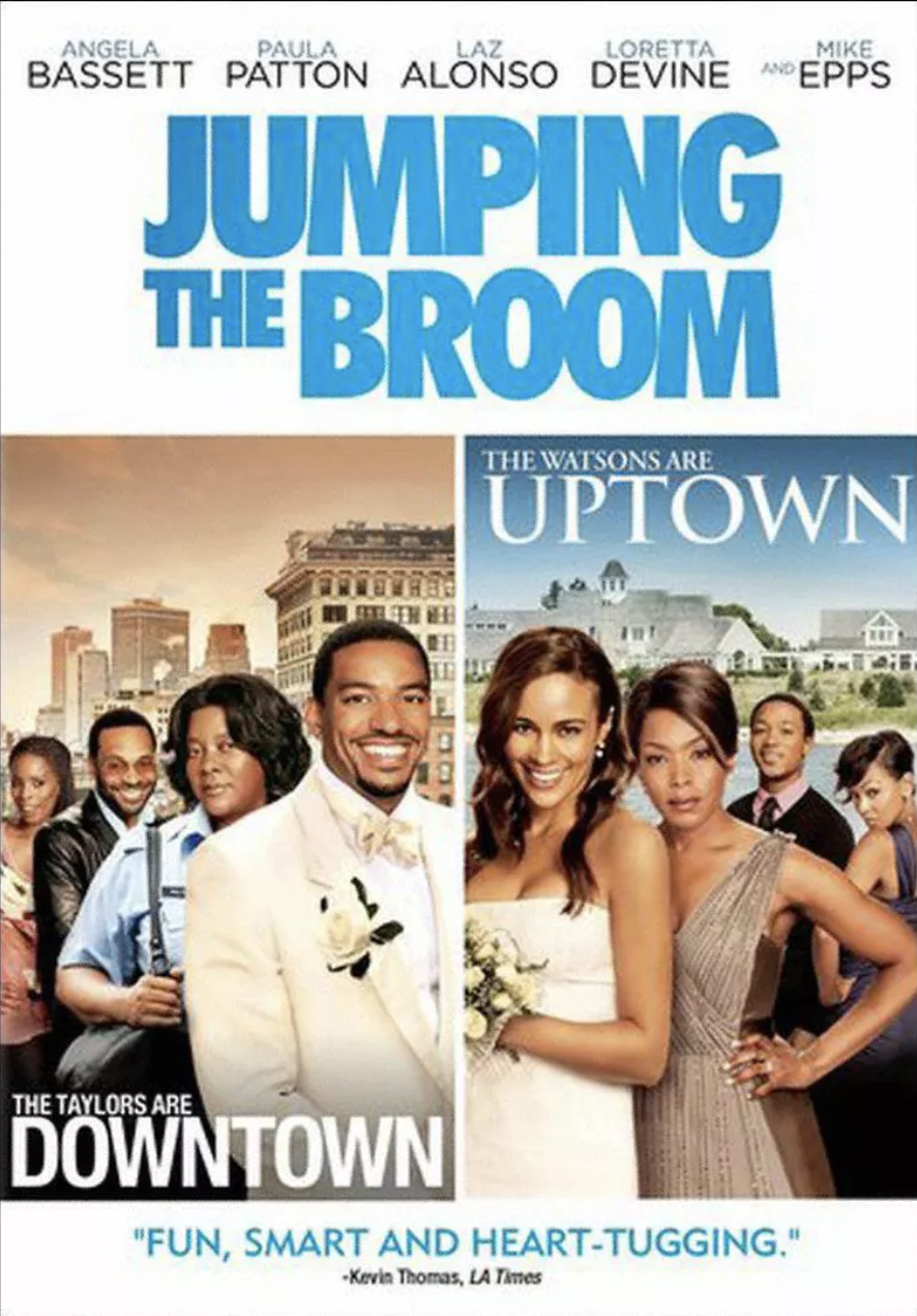 """<p>The act of """"jumping the broom"""" is a common African American wedding tradition dating back to the 19th century, symbolizing the union between the couple. The film tells the love story of Sabrina (Paula Patton) and Jason (Laz Alonso) when their extremely different-class families meet for their wedding. When the two sides collide, love proves that not even bickering families can get in the way of this couple.</p><p><a class=""""link rapid-noclick-resp"""" href=""""https://www.amazon.com/Jumping-Broom-Paula-Patton/dp/B005B7I0S6?tag=syn-yahoo-20&ascsubtag=%5Bartid%7C10063.g.35083114%5Bsrc%7Cyahoo-us"""" rel=""""nofollow noopener"""" target=""""_blank"""" data-ylk=""""slk:STREAM IT HERE"""">STREAM IT HERE</a></p>"""