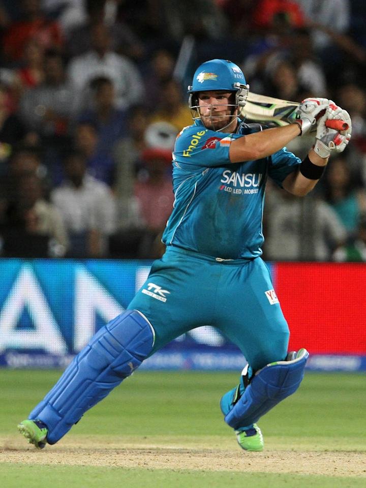 Pune Warriors player Aaron Finch plays a shot during match 13 of the Pepsi Indian Premier League ( IPL) 2013  between The Pune Warriors India and the Rajasthan Royals held at the Subrata Roy Sahara Stadium, Pune on the 11th April  2013..Photo by Vipin Pawar-IPL-SPORTZPICS ..Use of this image is subject to the terms and conditions as outlined by the BCCI. These terms can be found by following this link:..https://ec.yimg.com/ec?url=http%3a%2f%2fwww.sportzpics.co.za%2fimage%2fI0000SoRagM2cIEc&t=1506281833&sig=.GqkkUwKJ2ZIzbw4Hvz6vA--~D