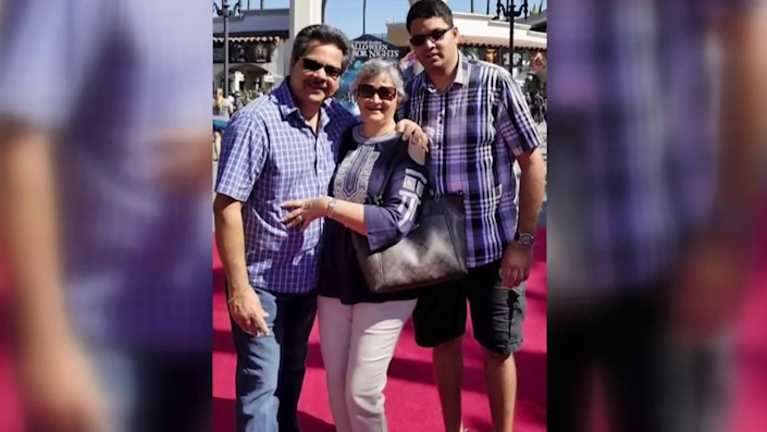 An undated photo of 32-year-old Kenneth French, and his parents Russell and Paula French, who were shot by an off-duty LAPD officer at a Costco in Corona, California, on June 14, 2019. Kenneth died but his parents survived. / Credit: Rick Shureih via CBS Los Angeles