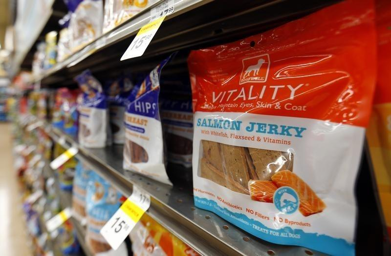 Dogswell dog treats are seen on the shelves at a Petco store in San Marcos, California