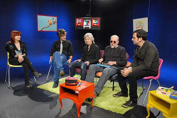 Tinted Windows (Taylor Hanson, James Iha, Bun E. Carlos, and Adam Schlesinger) doing an interview with Yahoo Entertainment in 2009. (Photo: Stephanie Cabral)
