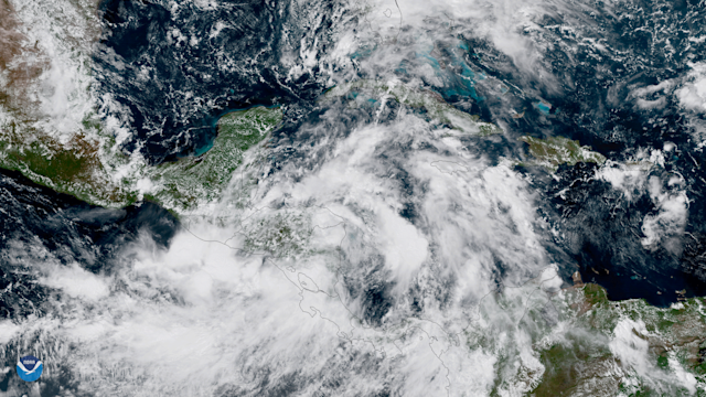 <p>Tropical Storm Nate ashore over Nicaragua on Oct. 5, 2017. <br>GOES-16 captured this geocolor image of Tropical Storm Nate on October 5, 2017. The center of Nate is inland over northeastern Nicaragua, and little change in strength is expected until the center moves over the northwestern Caribbean Sea. After that, a combination of warm sea surface temperatures and light shear should allow for at least steady strengthening. (Photo: NOAA) </p>
