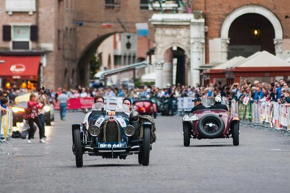 A Bugatti T 35 A passes through the city centre of Ferrara during the first day of the Mille Miglia on May 16, 2018 in Ferrara, Italy. The 2018 edition of Mille Miglia hosts 467 participants and will run from May 16-19. (Photo by Simone Padovani/Awakening/Getty Images