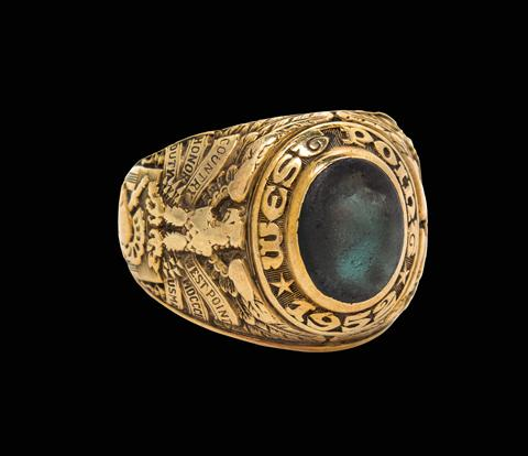 West Point ring worn in space by astronaut Edward White, made by L. G. Balfour Co., American, of 14 kt gold. White wore this ring as the first American to walk in space during the Gemini 4 mission. He tragically died in the Apollo 1 fire.