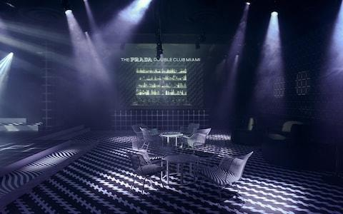 The indoor bar at The Prada Double Club in Miami