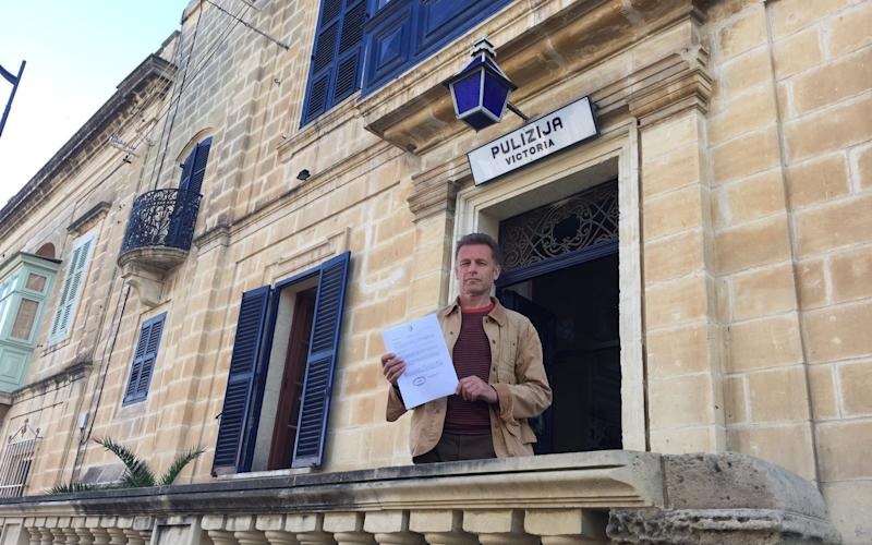 Chris Packham outside the police station in Malta after being charged with assault - Chris Packham
