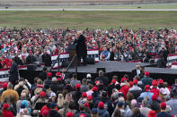 President Donald Trump speaks at a campaign rally at Altoona-Blair County Airport, Monday, Oct. 26, 2020, in Martinsburg, Pa. (AP Photo/Alex Brandon)