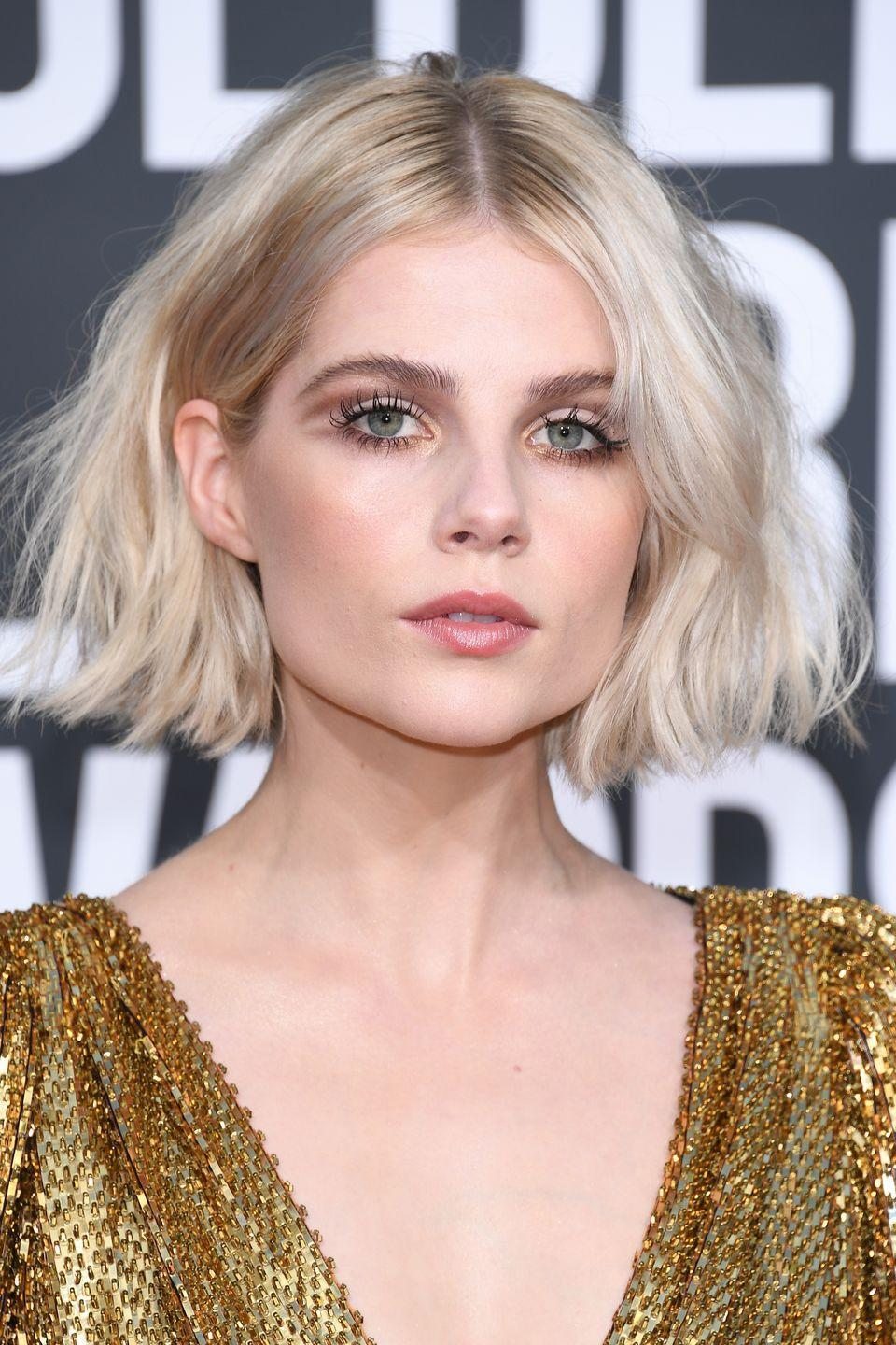 <p>The moment that made Lucy Boynton our official beauty inspo obsession via a caramel coloured smokey cut crease.</p>