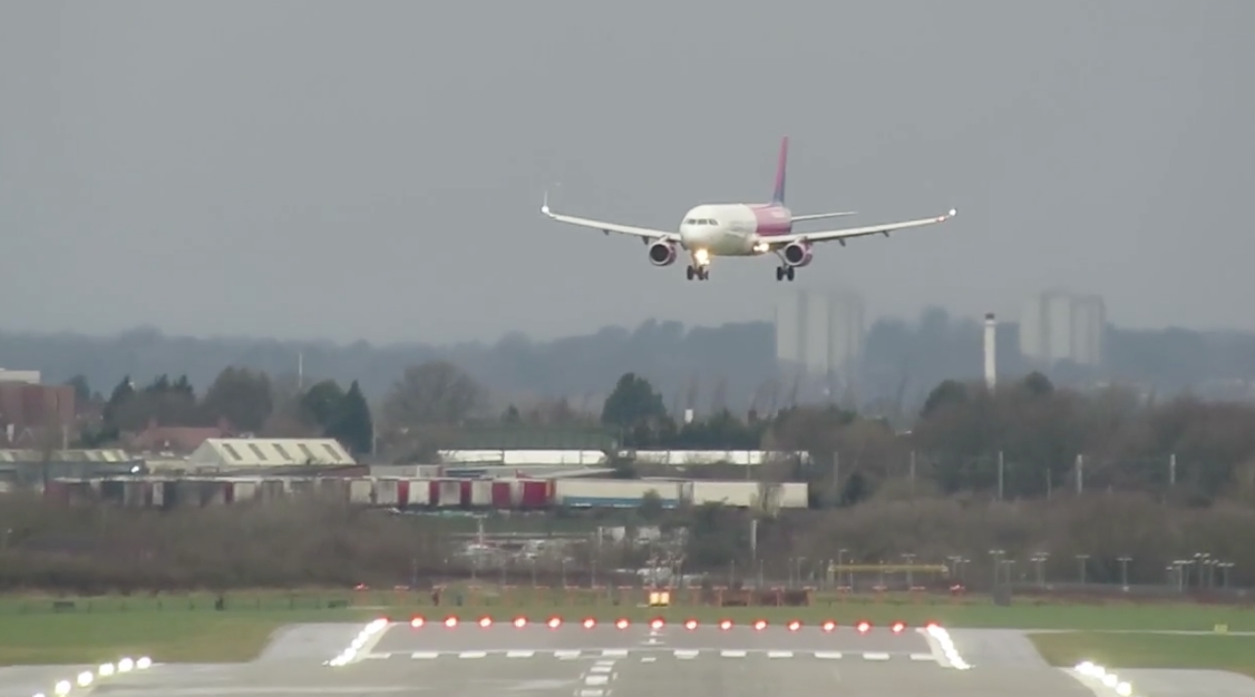 The Wizz Air flight was diverted to Birmingham because of high winds. (Newsflare)