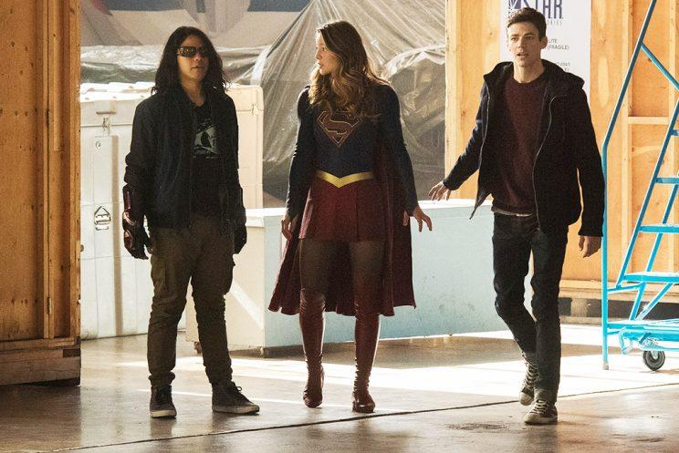 Carlos Valdes as Cisco Ramon, Melissa Benoist as Supergirl and Grant Gustin as Barry Allen (Credit: The CW)