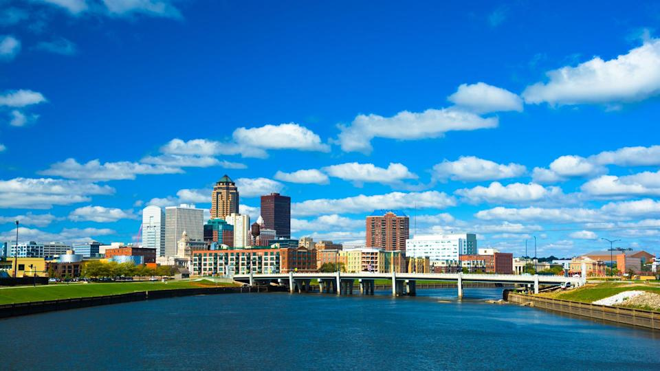 Downtown Des Moines skyline and Martin Luther King Jr.