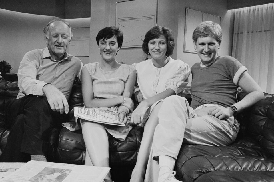 The presenters of 'Breakfast Time', first national breakfast television programme, UK, 19th August 1983; including Frank Bough, Debbie Rix and Mike Smith. (Photo by John Minihan/Daily Express/Hulton Archive/Getty Images)