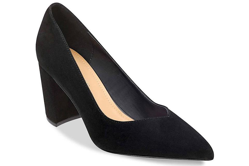 black, block heels, pumps, pointed-toe, suede, marc fisher