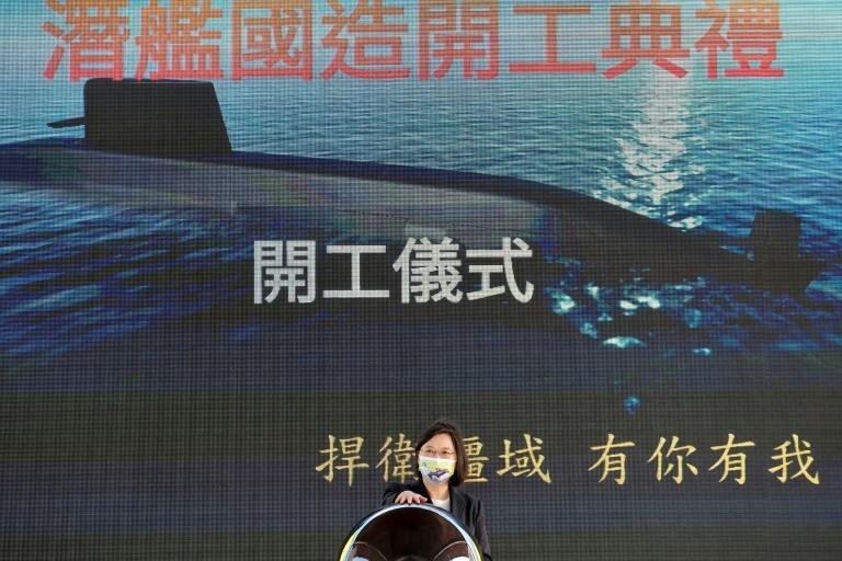 """President Tsai Ing-wen said the submarines' construction was a sign of """"Taiwan's strong will to defend its sovereignty"""""""