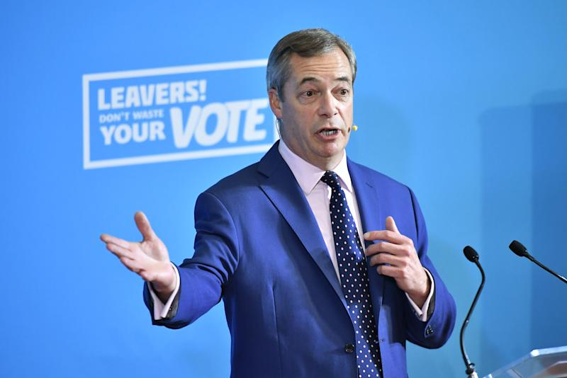 Brexit Party leader Nigel Farage speaking at a press conference at the Emmanuel Centre in London, while on the General Election campaign trail.