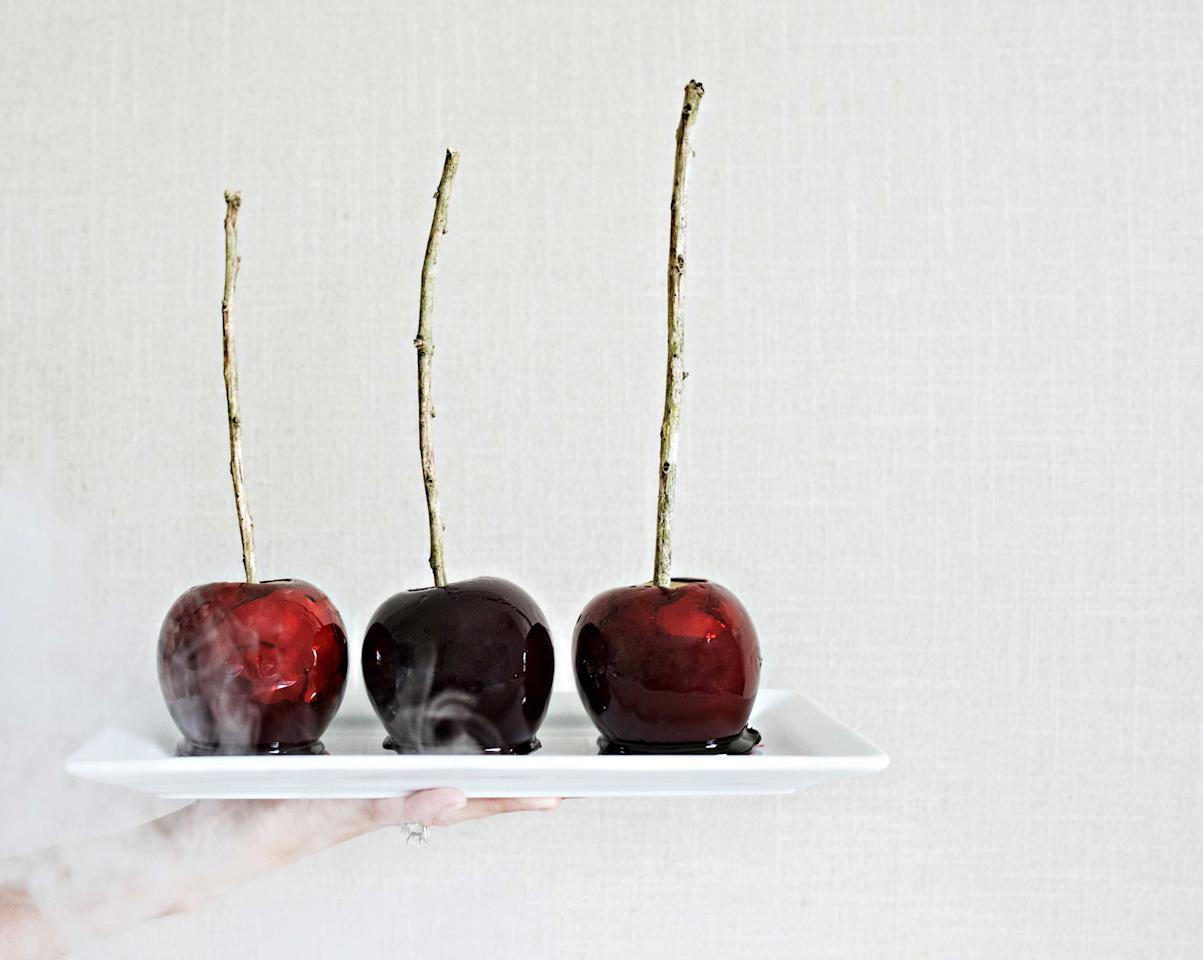 <p>Lastly, these Mad Apples with brandy make the perfect addition to any adult Halloween party. For a spooky look, add black food coloring and find twigs from your yard (that are thoroughly washed of course) to use as the skewer. These Mad Apples are a great twist on the classic candy apples that everyone loves. <strong>Mad Apples (Yields 6)</strong> <em>Ingredients</em> 4 Cups Granulated Sugar  Cups Water  Cups Brandy (<em>Optional</em>) 1 Cup Light Corn Syrup 6 Granny Smith Apples (Unwaxed) Black or Red Food Coloring <em>Directions</em> Grease a piece of baking paper and place on a tray/baking sheet. Insert skewers in all the apples and set aside.In a medium pot, combine the sugar, water, liquor, corn syrup and food coloring and stir over medium heat until the sugar has dissolved and the mixture feels smooth when you rub it between your fingers. When the sugar has dissolved, turn the heat up and wash the sides of the pot down with a pastry brush dipped into clean water to prevent crystals from forming. Allow the candy mixture to boil until it reaches the hard crack stage 310F. Carefully dip the apples into the hot candy mixture and place on the baking paper to set and cool for approximately an hour before serving. </p>