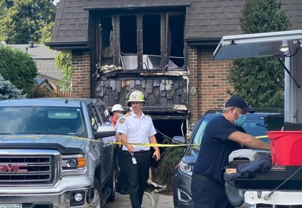 Durham police said they received a call reporting a fire at around 1:30 a.m. on Wednesday.  (Martin Trainor/CBC - image credit)