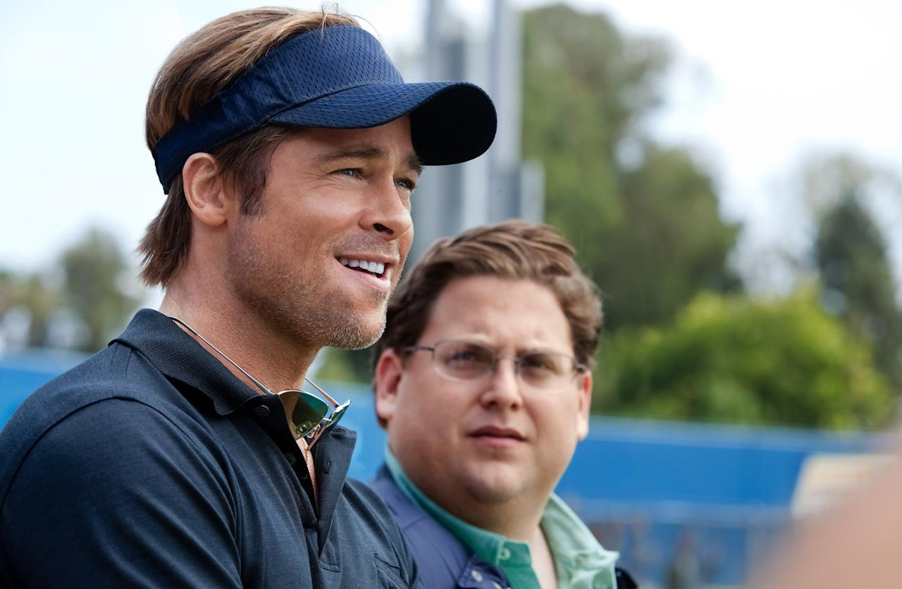 "In this image released by Sony Pictures, Brad Pitt, left, and Jonah Hill are shown in a scene from ""Moneyball."" The film was nominated Tuesday, Jan. 24, 2012 for an Oscar for best film. Pitt was also nominated for best actor and Hill was nominated for best supporting actor. The Oscars will be presented Feb. 26 at the Kodak Theatre in Los Angeles, hosted by Billy Crystal and broadcast live on ABC. (AP Photo/Columbia Pictures-Sony, Melinda Sue Gordon)"