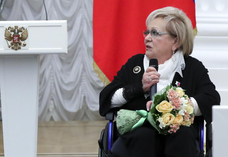 FILE - In this Friday, April 28, 2017 file photo, Russian art director of the Sovremennik theater Galina Volchek attends an award ceremony in the Kremlin in Moscow, Russia. Volchek, a prominent theater director and actress, died in Moscow Thursday, Dec. 26, 2019 at the age of 86. (Mikhail Klimentyev/Sputnik, Kremlin Pool Photo via AP)