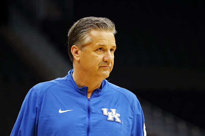 John Calipari of the Kentucky Wildcats looks on during a practice session.