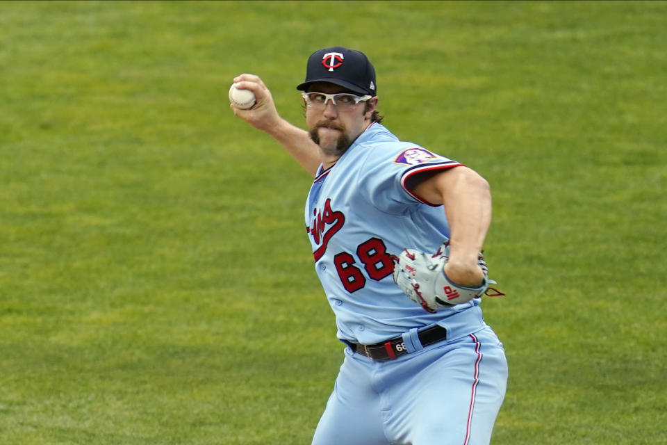 Minnesota Twins pitcher Randy Dobnak throws to a New York Yankees batter during the first inning of a baseball game Wednesday, June 9, 2021, in Minneapolis. (AP Photo/Jim Mone)
