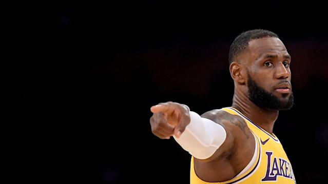 """<a class=""""link rapid-noclick-resp"""" href=""""/nba/players/3704/"""" data-ylk=""""slk:LeBron James"""">LeBron James</a> wore a Beto O'Rourke hat on Saturday ahead of the <a class=""""link rapid-noclick-resp"""" href=""""/nba/teams/lal"""" data-ylk=""""slk:Lakers"""">Lakers</a>' game against the <a class=""""link rapid-noclick-resp"""" href=""""/nba/teams/sas"""" data-ylk=""""slk:San Antonio Spurs"""">San Antonio Spurs</a> in Texas. O'Rourke is running for United States Senate in Texas against Republican incumbent Ted Cruz. (Getty Images)"""