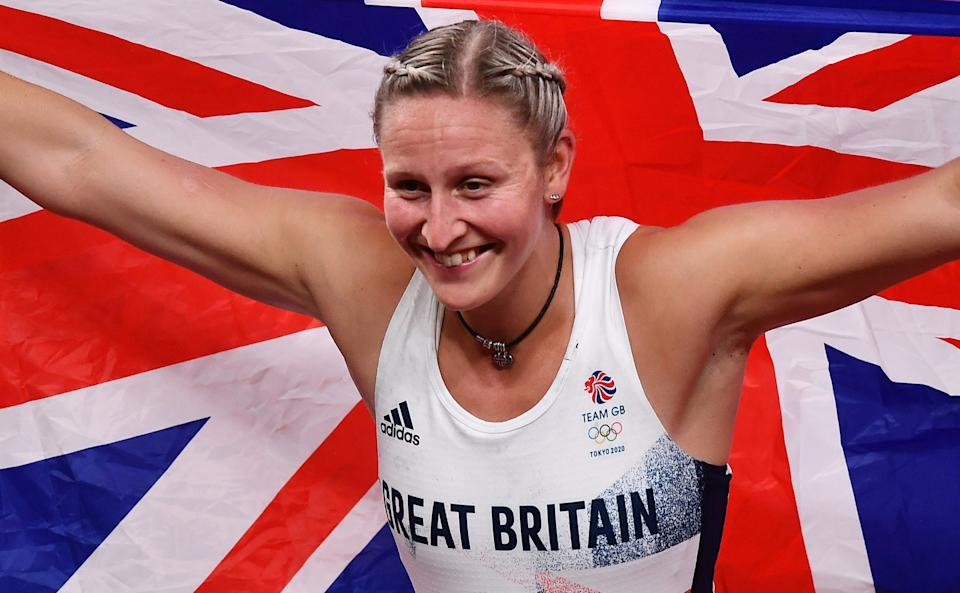 Holly Bradshaw celebrates winning Team GB's first-ever pole vault medal with bronze at the Tokyo 2020 Olympics