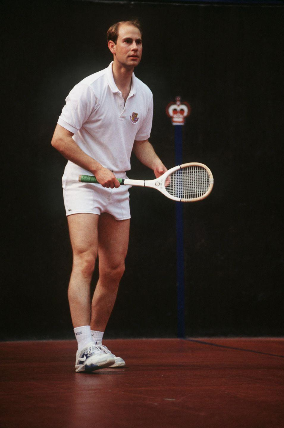<p>The sport must have stuck with Prince Edward, as he was seen here again playing at Holyport Real Tennis Court in 1993.</p>