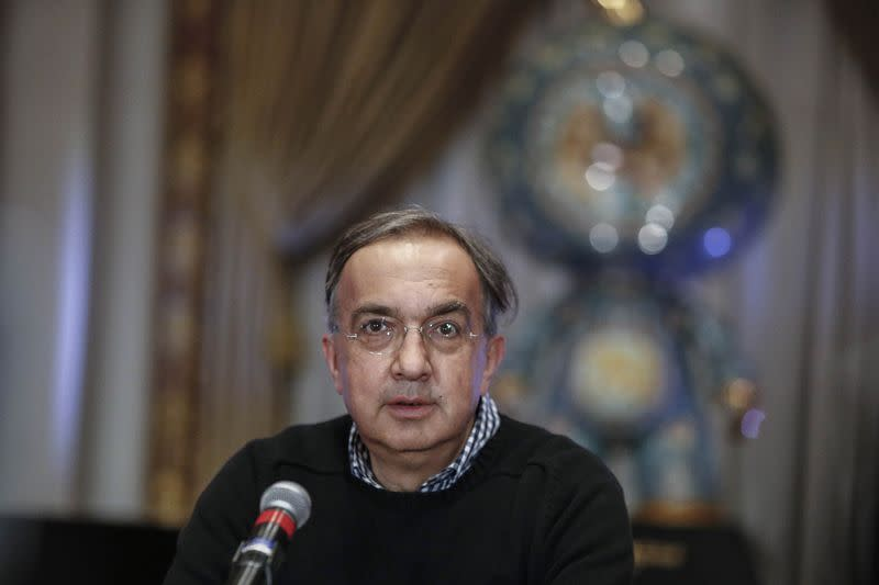 Marchionne, chief executive officer of Fiat Chrysler Automobiles, speaks with the media before ringing the closing bell to celebrate the company's listing at the New York Stock Exchange