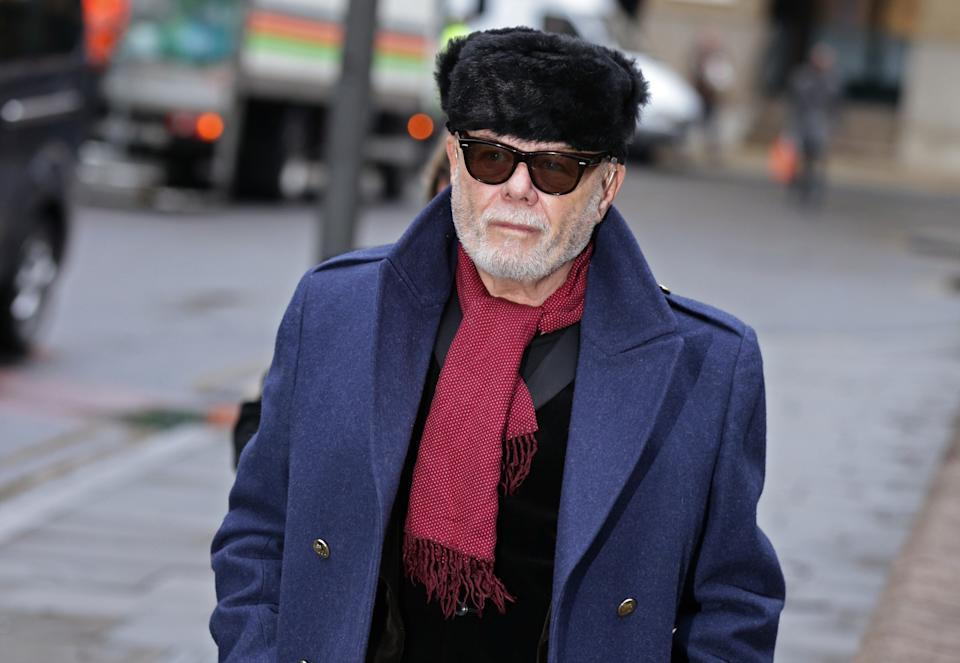 Former pop star Gary Glitter, real name Paul Gadd, arrives at Southwark Crown Court in London, where his trial over historic sex abuse charges dating back to 1970s continues.