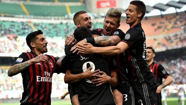 Gerard Deulofeu scored the pick of the goals as AC Milan romped to a 4-0 win over 10-man Palermo and moved up to sixth in the Serie A table.