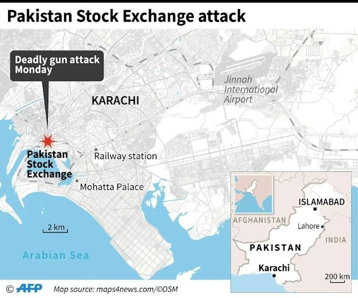 Map of Karachi in Pakistan locating the stock exchange where a fatal gun attack took place on Monday. (AFP Photo/)