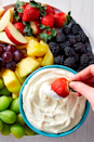 "<p>Don't forget your friends with a sweet tooth— this cream cheese-marshmallow dip counts as a snack or a <a href=""https://www.goodhousekeeping.com/food-recipes/dessert/"" rel=""nofollow noopener"" target=""_blank"" data-ylk=""slk:dessert"" class=""link rapid-noclick-resp"">dessert</a>.</p><p><em><a href=""https://www.delish.com/cooking/recipe-ideas/a25837327/fruit-dip-recipe/"" rel=""nofollow noopener"" target=""_blank"" data-ylk=""slk:Get the recipe from Delish »"" class=""link rapid-noclick-resp"">Get the recipe from Delish »</a></em></p>"