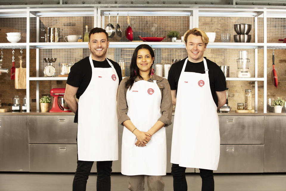MasterChef finalists Mike T, Alexina, and Tom. (BBC/Shine TV)