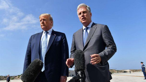 PHOTO: President Donald Trump's new national security adviser, Robert O'Brien, speaks to reporters with the President at LAX airport on Sept. 18, 2019. (AFP via Getty Images, FILE)