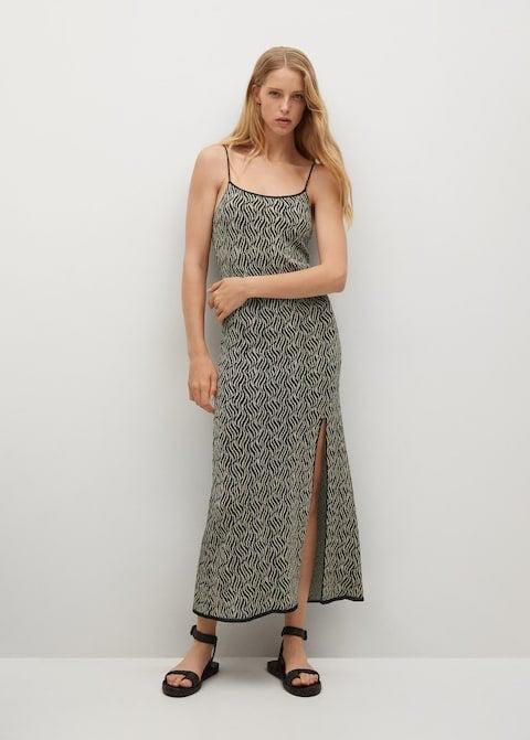 """This side-slit knitted dress would be perfect for summer evenings when the temperature drops. It'd go well with a pair of barely there sandals or my trusty Dr. Martens if I wanted to toughen it up.<br><br><strong>Mango</strong> Side Slit Knit Dress, $, available at <a href=""""https://shop.mango.com/gb/women/dresses-and-jumpsuits-knitwear/side-slit-knit-dress_17092887.html"""" rel=""""nofollow noopener"""" target=""""_blank"""" data-ylk=""""slk:Mango"""" class=""""link rapid-noclick-resp"""">Mango</a>"""