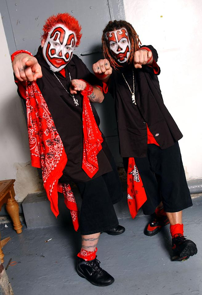CHICAGO, IL - OCTOBER 30: Rappers Shaggy 2 Dope (r) and Violent J (l) of the Insane Clown Posse pose backstage October 30, 2003 at the Riviera in Chicago, Illinois. (Photo by Scott Harrison/Getty Images)