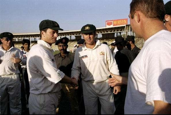 26 Oct 1998: Steve Waugh and Mark Taylor of Australia after their series win the Third Test against Pakistan in Karachi, Pakistan. \ Mandatory Credit: Ben Radford /Allsport