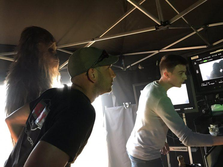 Chewbacca checking out a monitor on the set of Han Solo - Credit: Twitter