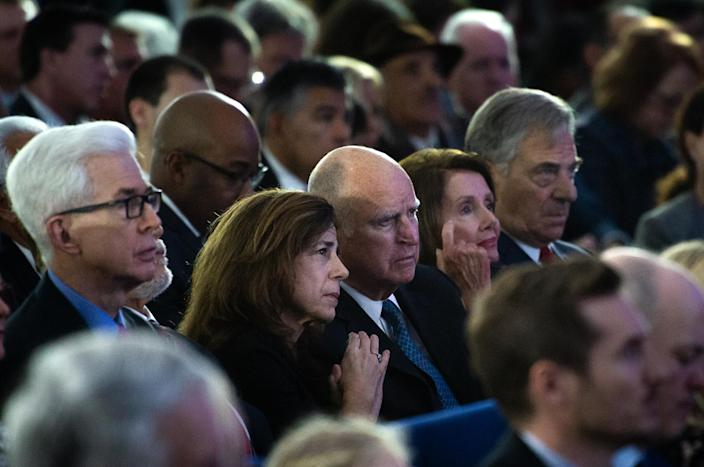 From left, former Gov. Gray Davis, former first lady Anne Gust Brown, former Gov. Jerry Brown, Speaker of the House Nancy Pelosi and Paul Pelosi listen to Gavin Newsom's inauguration speech at the California state Capitol. (Photo: Paul Kitagaki Jr./Zuma Wire)