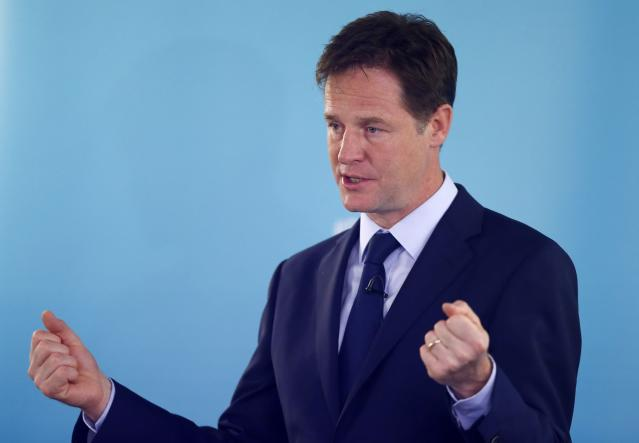 Britain's Deputy Prime Minister and leader of the Liberal Democrats, Nick Clegg, delivers a speech on international development, in London May 28, 2014. Clegg has been facing pressure since his party had a poor result in recent Euro and local elections. REUTERS/Andrew Winning (BRITAIN - Tags: POLITICS)