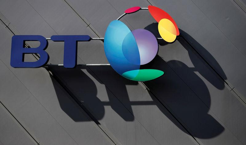 FILE PHOTO: A BT (British Telecom) company logo is pictured on the side of a convention centre in Liverpool northern England.