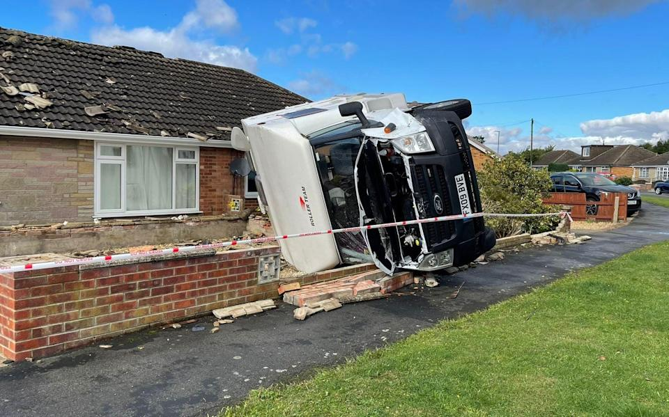 A motorhome was flipped on its side and crashed through the perimeter wall outside a home near Humberton - MEN MEDIA