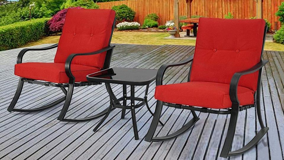 This 3-Piece outdoor bistro set is one of many top-rated furniture pieces that are still on sale at Overstock's Labor Day clearance sale.