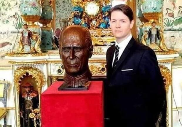 Christian Corbet and the bust he created of Prince Philip, which is now part of the Royal Collection.