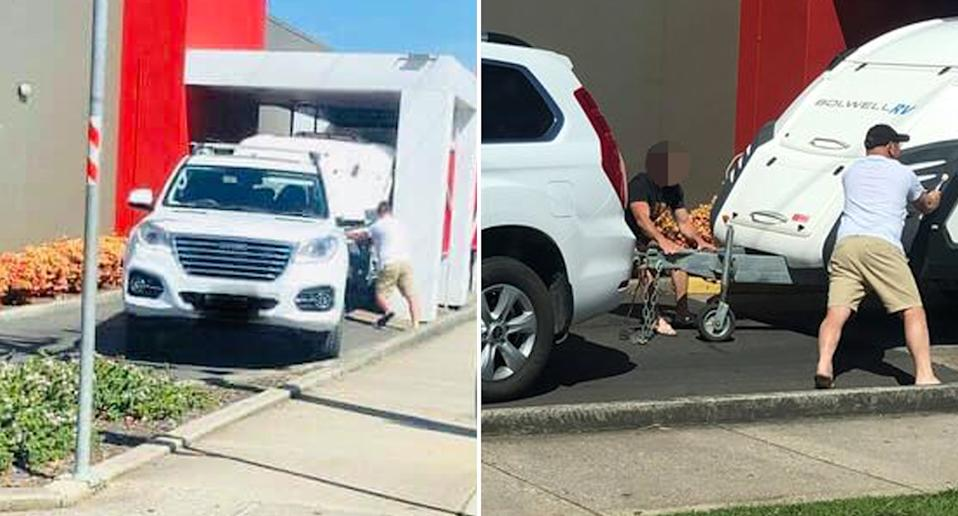 A caravan is pictured stuck in a drive-through at a KFC in Devonport.