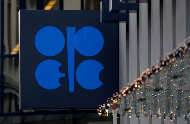 FILE PHOTO: The logo of the Organisation of the Petroleum Exporting Countries (OPEC) sits outside its headquarters in Vienna