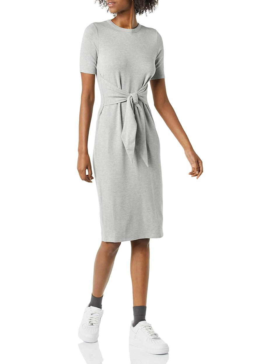 """<br><br><strong>Daily Ritual</strong> Supersoft Terry Tie-Front Midi Dress, $, available at <a href=""""https://amzn.to/3ArxBJi"""" rel=""""nofollow noopener"""" target=""""_blank"""" data-ylk=""""slk:Amazon"""" class=""""link rapid-noclick-resp"""">Amazon</a>"""