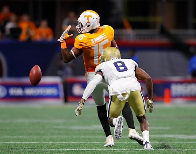 "<a class=""link rapid-noclick-resp"" href=""/ncaaf/players/251722/"" data-ylk=""slk:Jauan Jennings"">Jauan Jennings</a> hasn't played since the season opener against Georgia Tech. (Getty)"