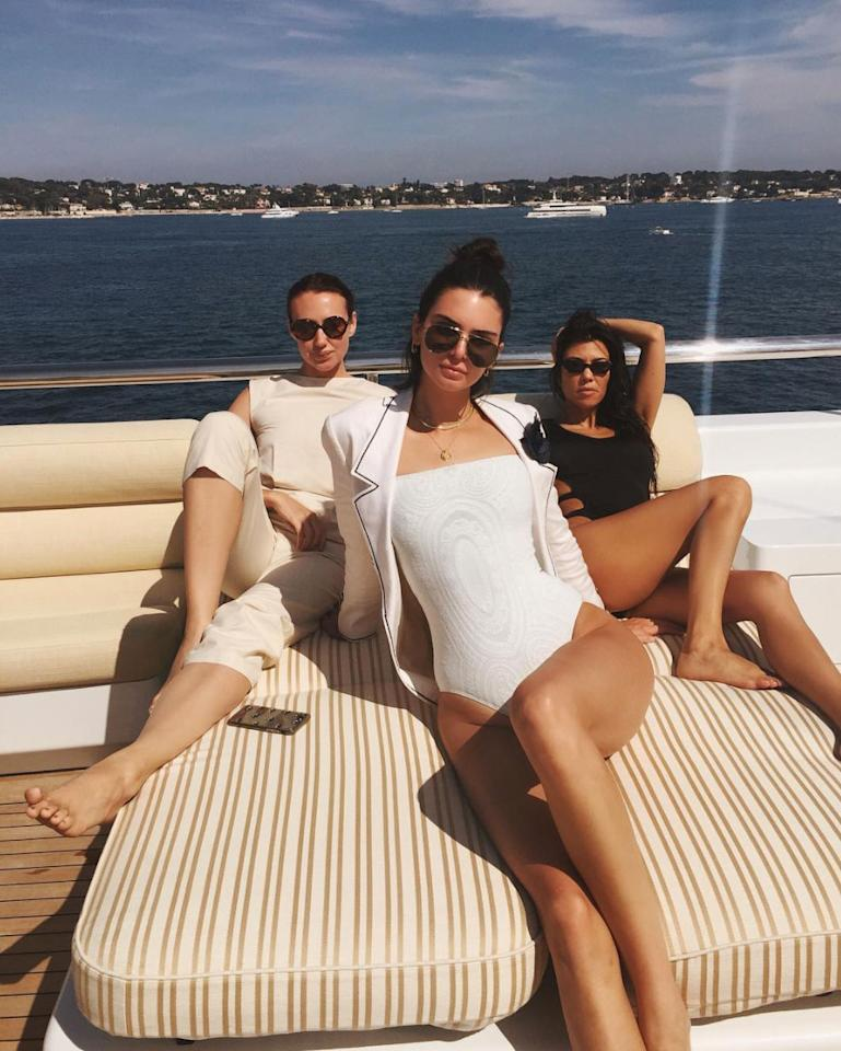 """<p>When she's not <a rel=""""nofollow"""" href=""""http://people.com/style/celebrity-cannes-outfit-changes/"""">killing it on the red carpet</a>, you'll find Kendall hanging on the <a rel=""""nofollow"""" href=""""https://www.instagram.com/p/BUencPjjOXt/?taken-by=kendalljenner&hl=en"""">lido deck</a> at Cannes in her <a rel=""""nofollow"""" href=""""https://www.midsommarswim.com/collections/one-piece/products/jamison-one-piece"""">long-sleeve Midsommar swimsuit</a> and Linda Farrow shades.</p>"""